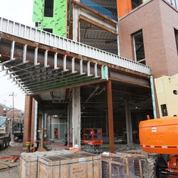 The northwest corner of the new plaza building