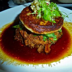 Braised pork butt with a honey grit cake and toasted corn relish.  This tasted exactly like Campbell's minestrone soup.  $21.