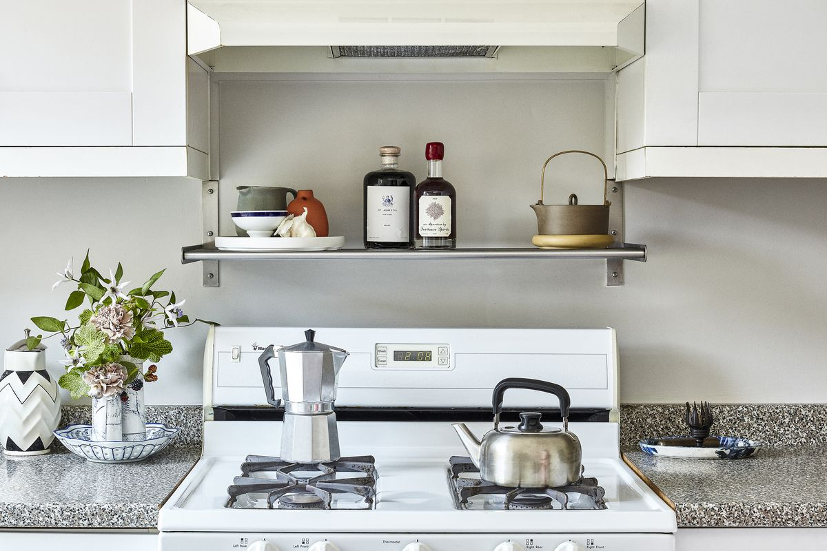 kitchen stove with kettle