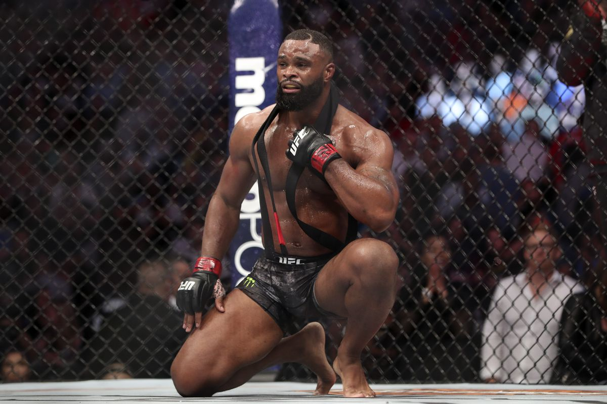 Tyron Woodley reacts after defeating Darren Till during UFC 228 at American Airlines Center.