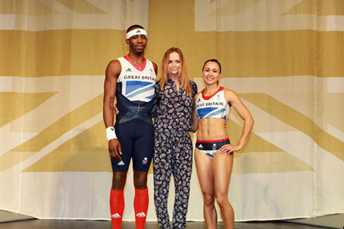 """Stella McCartney with her 2012 Olympic uniforms. Photo via <a href=""""http://www.graziadaily.co.uk/fashion/archive/2012/03/22/stella-mccartney-s-winning-olympic-kit-for-team-great-britain--first-look.htm"""">Grazia</a>."""
