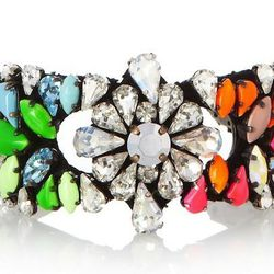 "Shourouk Silver-Plated Swarovski Crystal Cuff, $490 at <a href=""https://www.net-a-porter.com/product/378974"">Net a Porter</a>"
