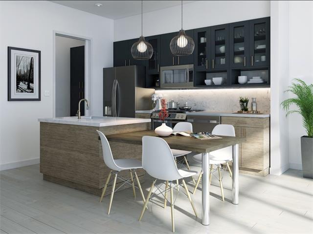 Rendering of condo open kitchen, white, beige, gray, contemporary