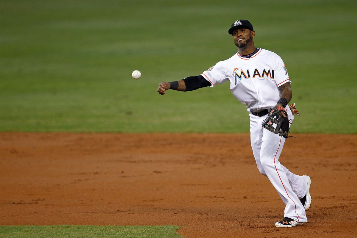 MIAMI, FL - JUNE 05: Jose Reyes #7 of the Miami Marlins throws for an out during a game against the Atlanta Braves at Marlins Park on June 5, 2012 in Miami, Florida.  (Photo by Sarah Glenn/Getty Images)