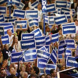 Sen. Edward M. Kennedy of Massachusetts receives ovations from a crowd inside the Pepsi Center during his surprise appearance at the Democratic National Convention in Denver on Aug. 25, 2008. Kennedy died Tuesday after battling a brain tumor.