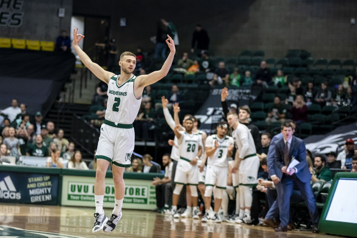 Utah Valley junior guard Jake Toolson celebrates a 3-point bucket on Thursday night at the UCCU Center in Orem, Utah. UVU defeated Grand Canyon, 82-70.
