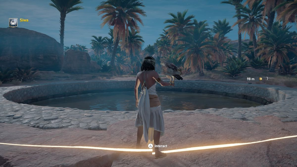 In the Discovery Tour mode for Assassin's Creed Origins, Cleopatra stands in front of a reflecting pool in Siwa where the real-life Cleopatra used to bathe.