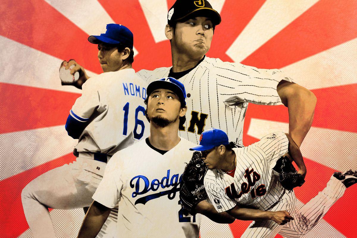 A photo collage of famous Japanese pitchers, including Hideo Nomo, Shohei Ohtani, Yu Darvish, and Daisuke Matsuzaka