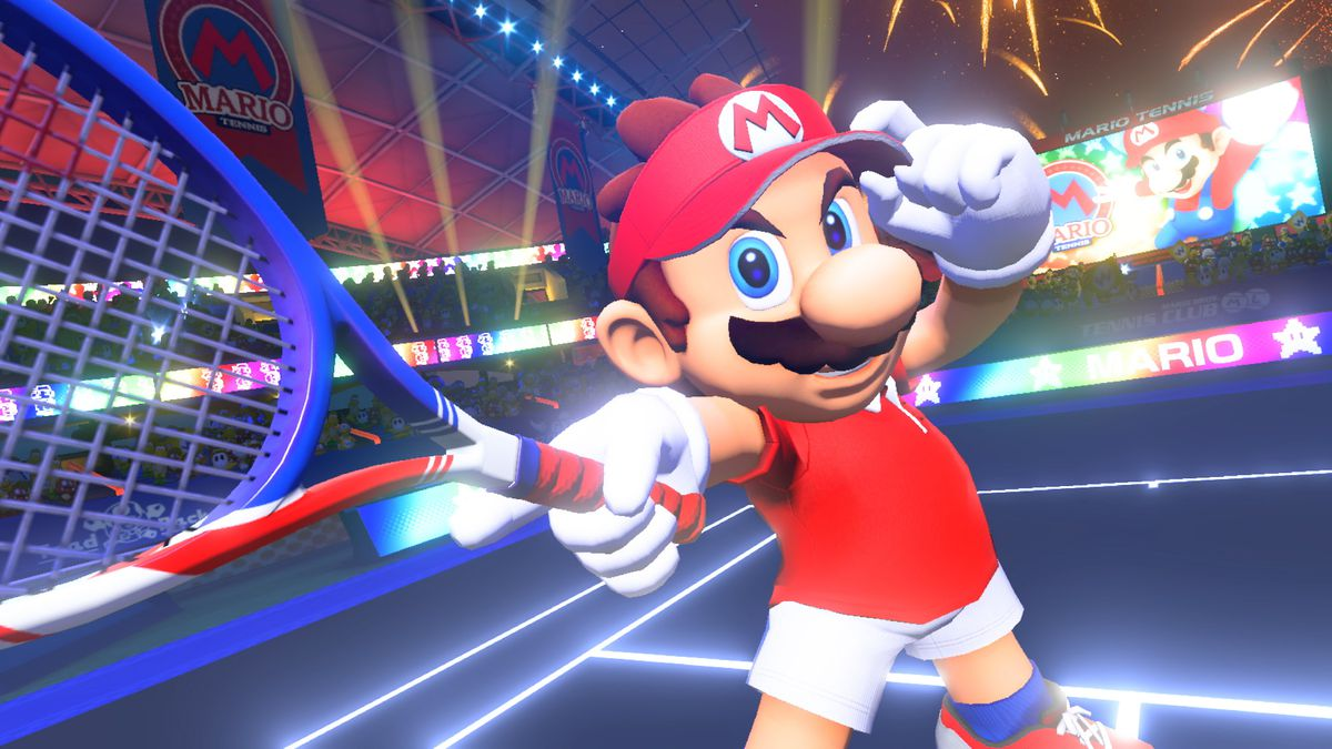 Mario Tennis Aces - Mario holding out his racket