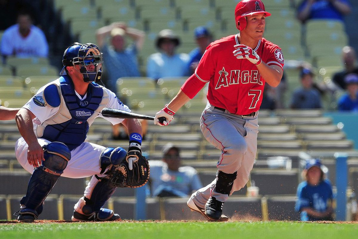 Los Angeles Angels infielder Taylor Lindsey (79) bats in the ninth inning against the Los Angeles Dodgers at Dodger Stadium.