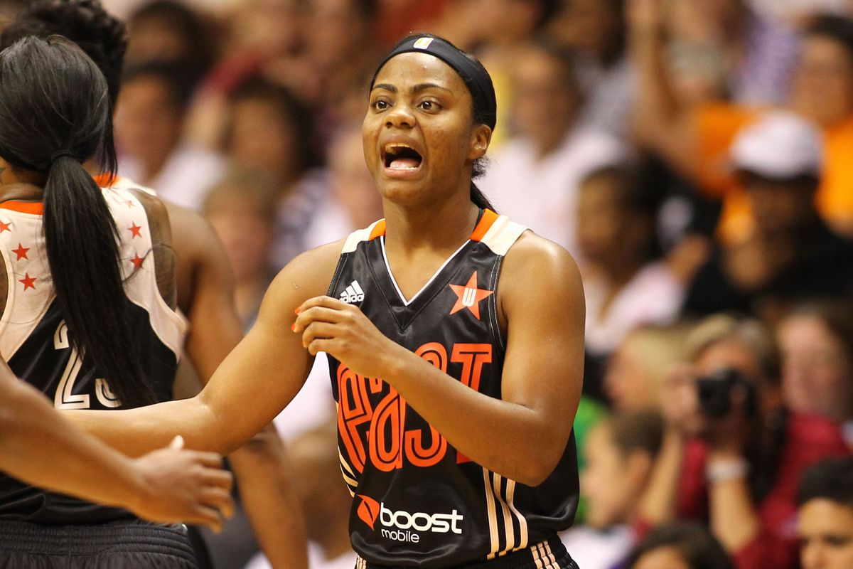 Ivory Latta at the All-Star Game, where she scored 15 points to add to her 18 earlier in the week.