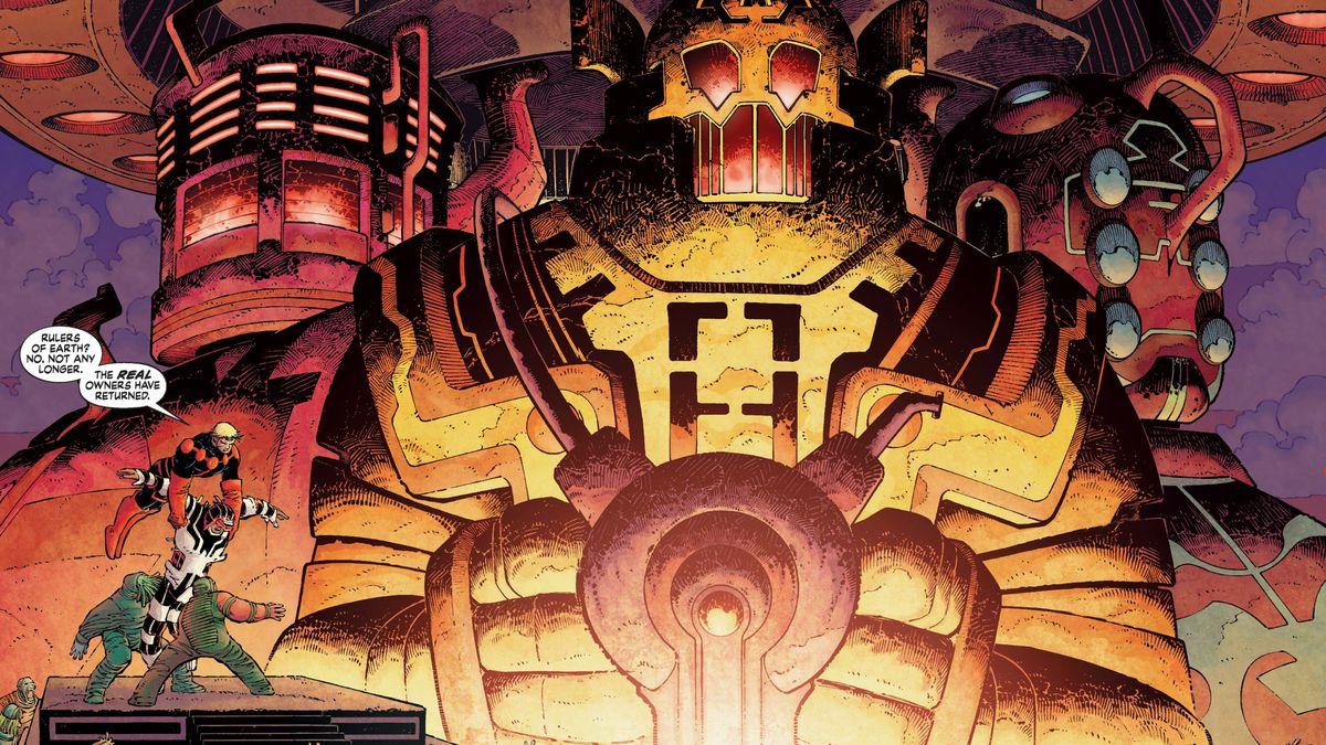 Ikaris and Makkari flee a Deviant army infront of three massive Celestials in Eternals (2006).