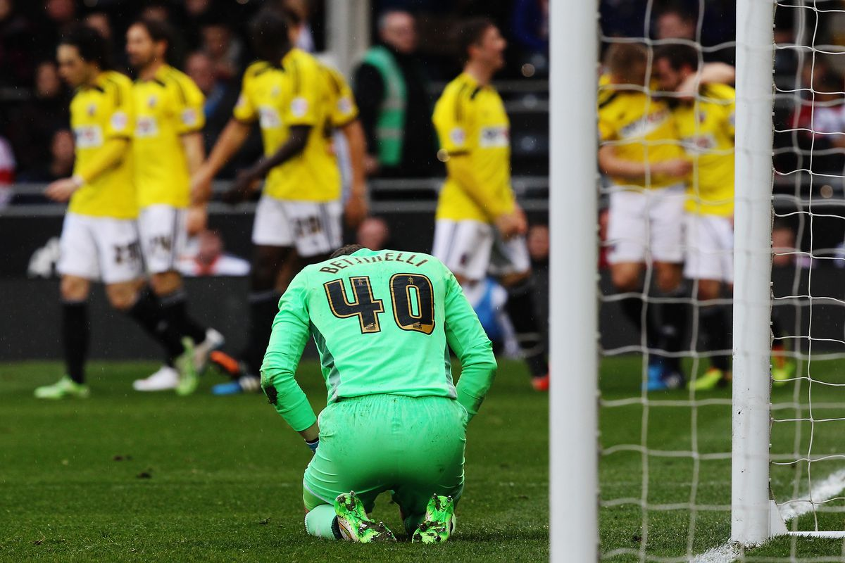 Bettinelli reacts to Brentford's third goal
