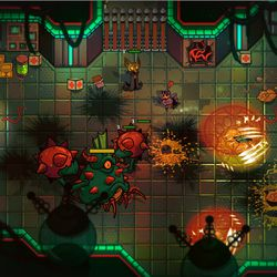 Players explore a crashed UFO, one of 25 procedurally generated dungeons in <em>Nobody Saves the World</em>, early in the game
