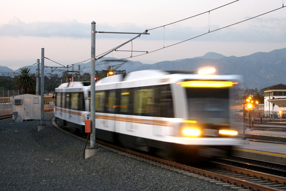 Gold Line train moving along its way