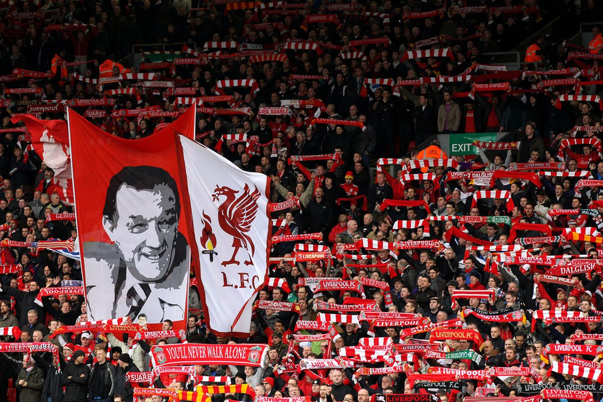 LIVERPOOL, ENGLAND - JANUARY 28:  Liverpool fans show their support during the FA Cup Fourth Round match between Liverpool and Manchester United at Anfield on January 28, 2012 in Liverpool, England.  (Photo by Alex Livesey/Getty Images)