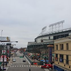 View of ballpark and Addison, looking west from Red Line L stop -