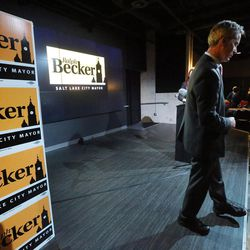 Salt Lake City Mayor Ralph Becker steps off the stage after speaking to supporters at his election night party at Club 50 West in Salt Lake City on Tuesday, Nov. 3, 2015.