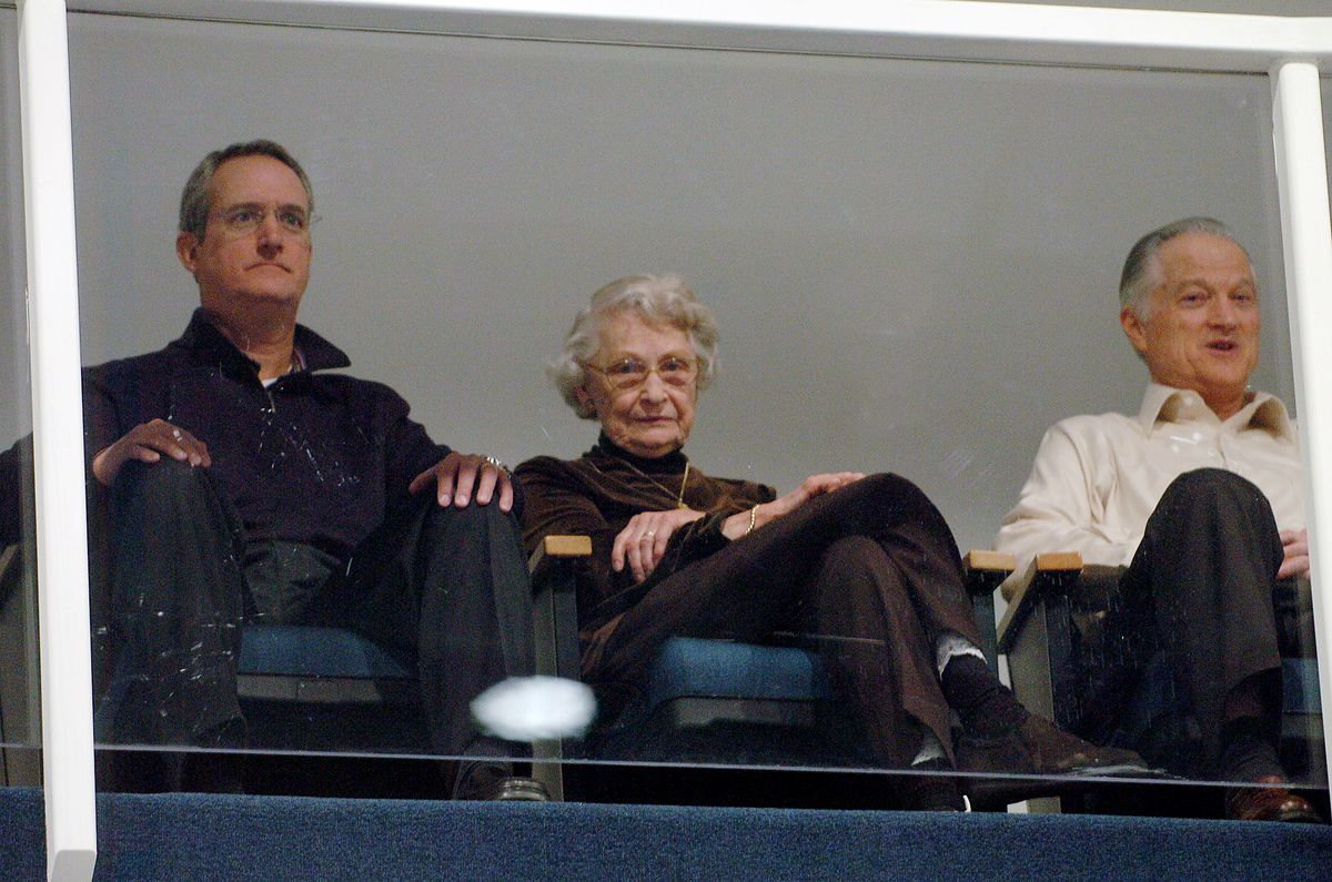 Virginia McCaskey (center) with Patrick McCaskey (left) and Michael McCaskey, pictured in 2009.