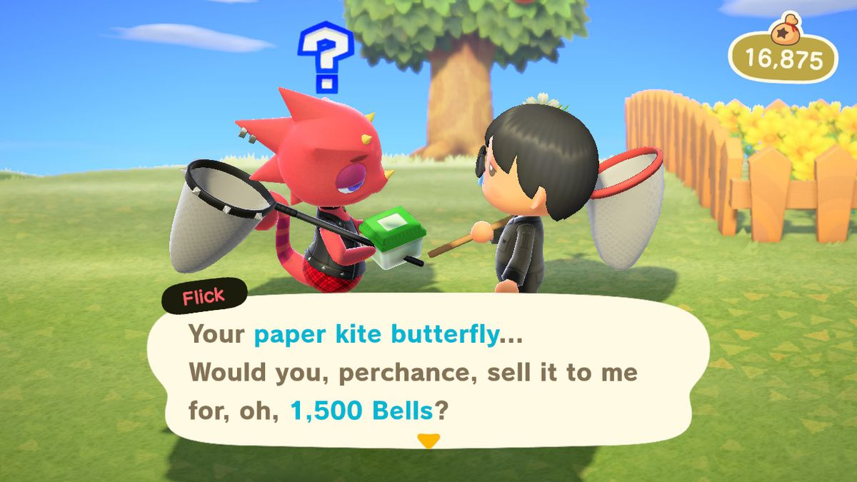 Flick showing off their high prices in Animal Crossing: New Horizons
