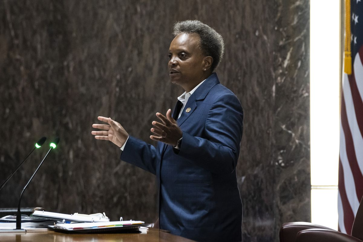 Mayor Lori Lightfoot delivers the city's 2022 budget proposal during a Chicago City Council meeting at City Hall, Monday morning, Sept. 20, 2021.