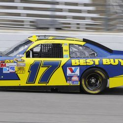 Matt Kenseth drives during practice for the NASCAR Sprint Cup Series auto race at Texas Motor Speedway, Friday, April 13, 2012, in Fort Worth, Texas.