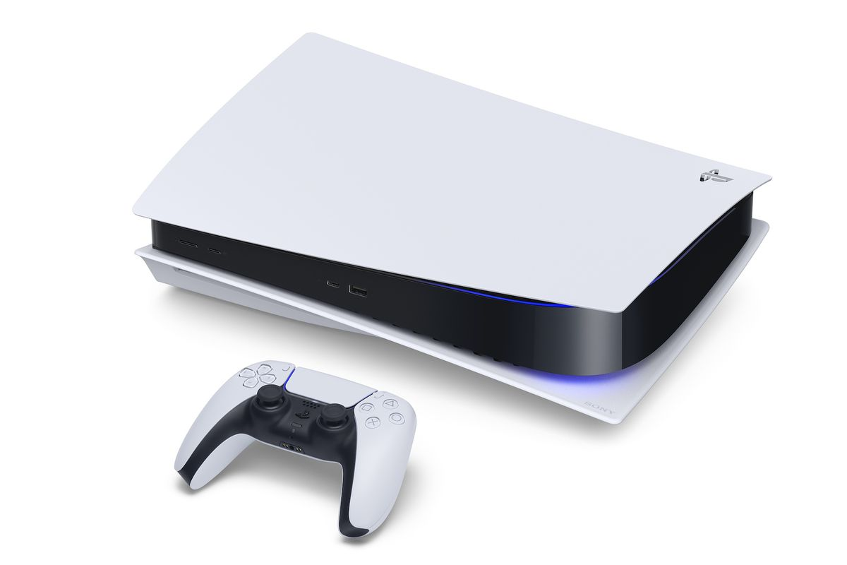 An image of the PlayStation 5 lying horizontally next to the DualSense controller