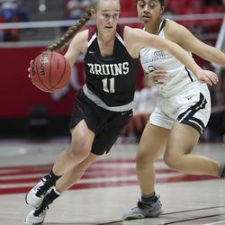 Highland and Mountain View compete during a 5A girls semifinal game at the Jon M. Huntsman Center in Salt Lake City on Thursday, Feb. 27, 2020. Highland won 54-45.