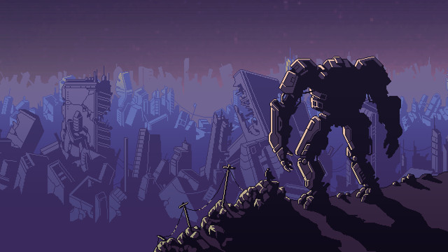 Into the Breach art - a mech and its pilot look over the wreckage of an Earth city before stepping back through the temporal breach to attempt to save it again