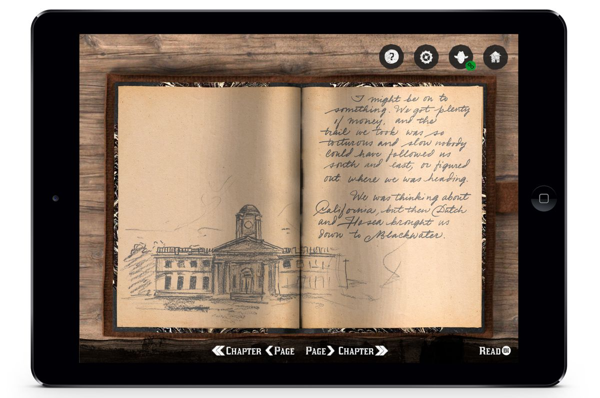 Arthur Morgan's journal, as shown in Red Dead Redemption 2's companion app
