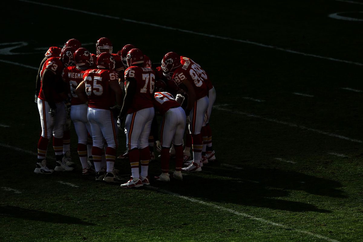 KANSAS CITY, MO - NOVEMBER 13:  The Kansas City Chiefs huddle late in the game against the Denver Broncos on November 13, 2011 at Arrowhead Stadium in Kansas City, Missouri.  (Photo by Jamie Squire/Getty Images)