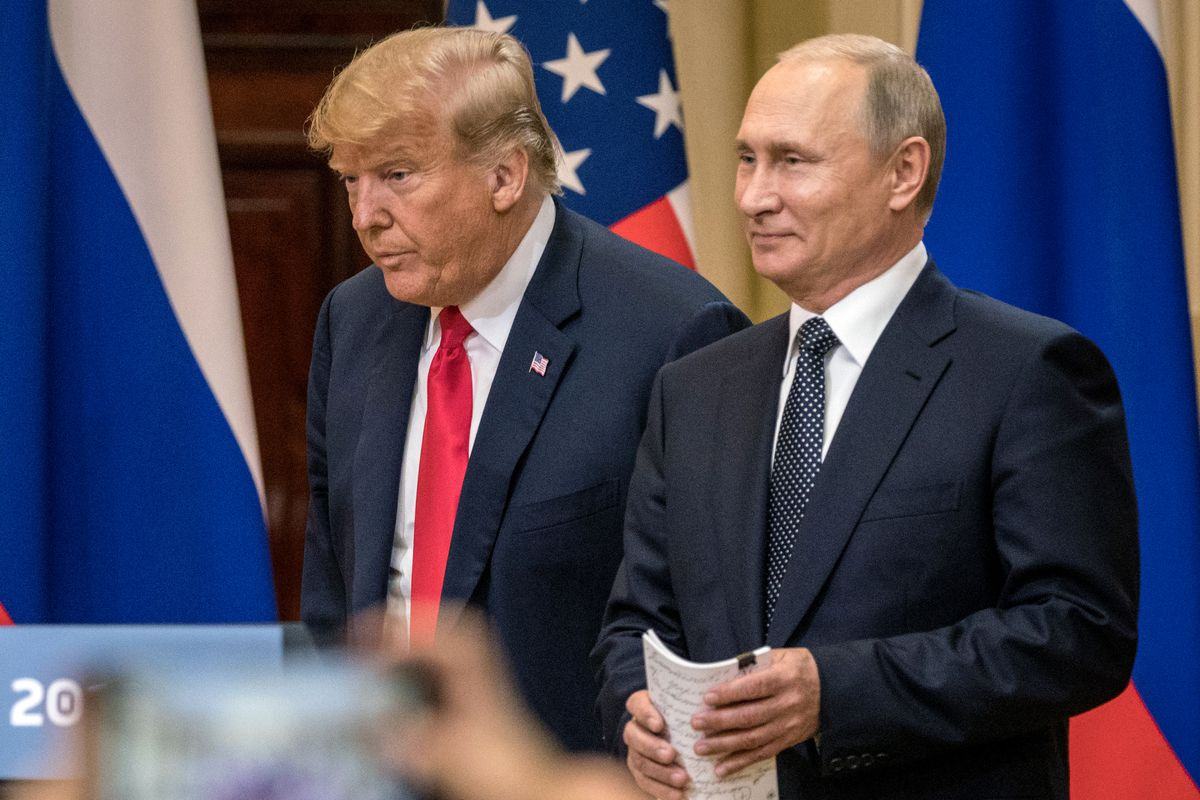 President Donald Trump and Russian President Vladimir Putin at a joint press conference after their July 16, 2018summit in Helsinki, Finland.