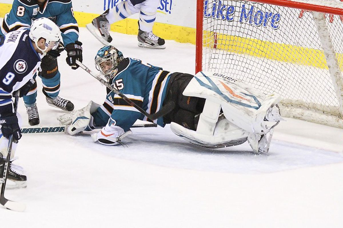 Worcester Sharks goaltender Harri Sateri, seen here stacking the pads against the St. John's IceCaps on February 5, made 21 saves Wednesday night for his first shutout of the season.
