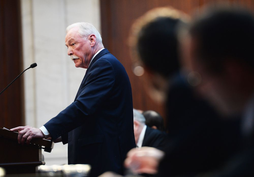 James Lyons, representing the Douglas County School District, speaks during oral arguments at the Colorado Supreme Court in the Douglas County vouchers case.