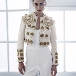 Organic cotton embroidered jacket with separate shoulder pieces, $399; sleeveless jumpsuit, $69.95