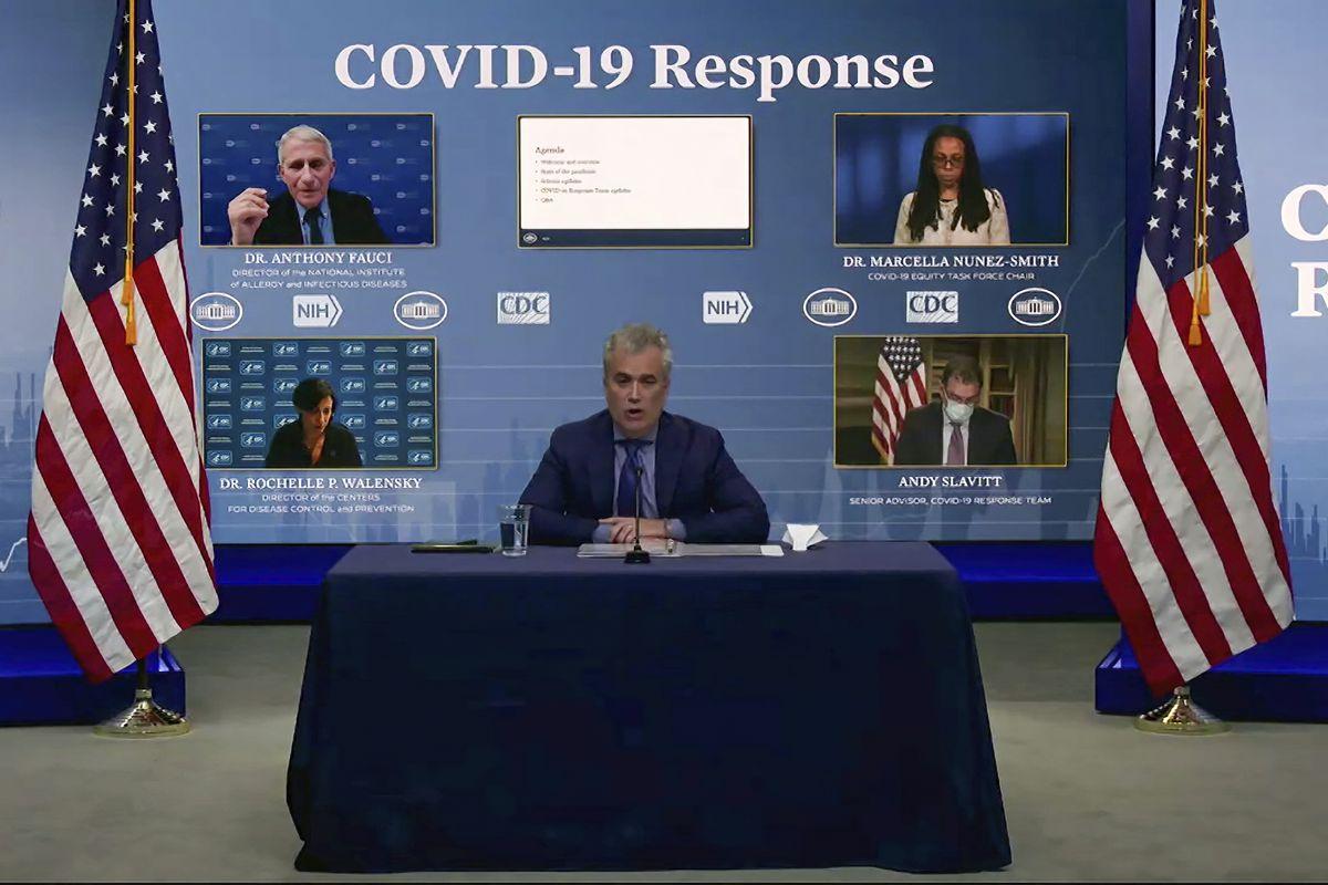 In this Jan. 27, 2021, image from video, Jeff Zients, White House coronavirus response coordinator, speaks.