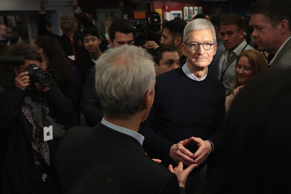 Tim Cook at the March 27 Apple event in Chicago        Scott Olson  Getty