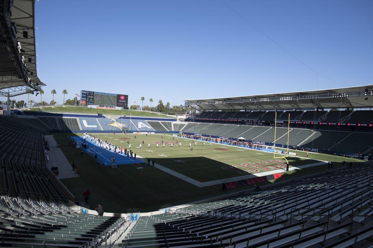 An NCAA football game kicks off between Hawaii and San Diego State on Saturday, Nov. 14, 2020, in Carson, California.