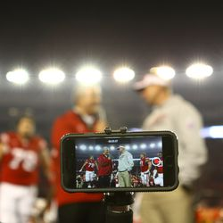 Head Coach Gary Andersen answers questions following the Badger win