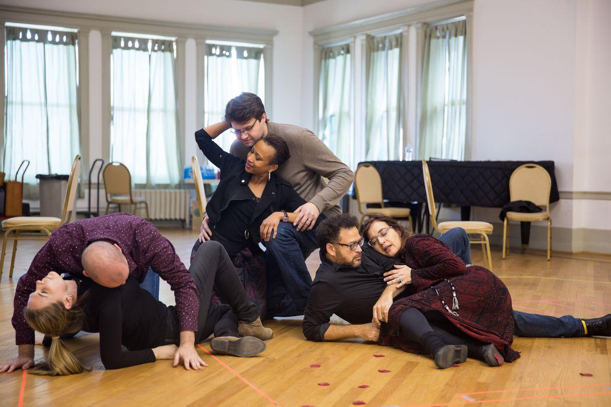 "Chicago Opera Theater rehearses Stewart Copeland's ""The Invention of Morel,"" world-premiere opera. The cast includes: Valerie Vinzant (as Faustine, from left), Scott Brunscheen (Alec/Ombrellieri), Kimberly E. Jones (Dora), David Govertsen (Stoever), Natha"