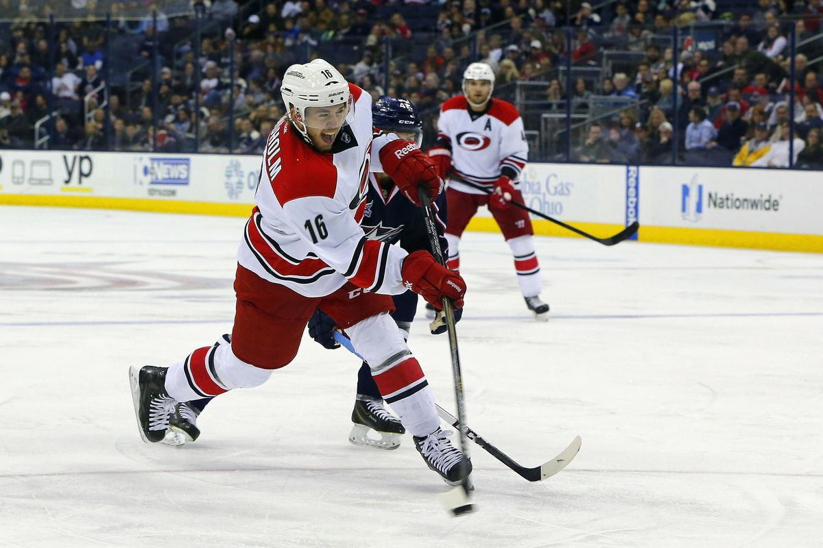 Elias Lindholm rips a shot against the Blue Jackets