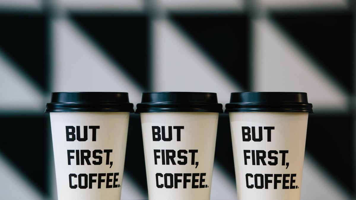 Coffee cups from Alfred in Los Angeles.