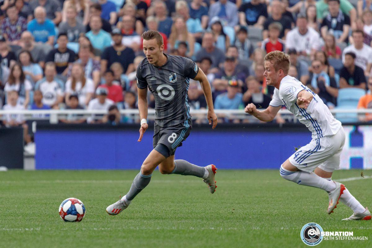 July 3, 2019 - Saint Paul, Minnesota, United States - Minnesota United midfielder Ján Greguš (8) dribbles the ball during the Minnesota United vs San Jose Earthquakes match at Allianz Field.