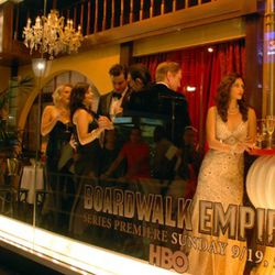 """The """"Boardwalk Empire"""" pre-Prohibition Day party in the windows at Bloomingdale's."""