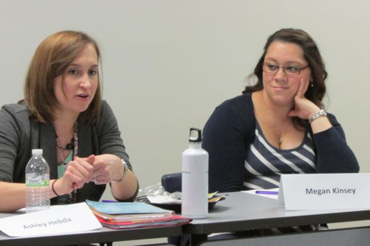 Teachers Ashley Hebda and Megan Kinsey discuss teacher evaluation at a meeting hosted by TeachPlus last year.