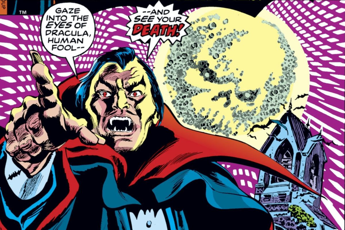 """Dracula points at the reader, backgrounded by a skull moon and a creepy church. """"Gaze into the eyes of Dracula, human fool,"""" he declares, """"And see your death!"""" on the cover of Tomb of Dracula #55, Marvel Comics (1977)."""