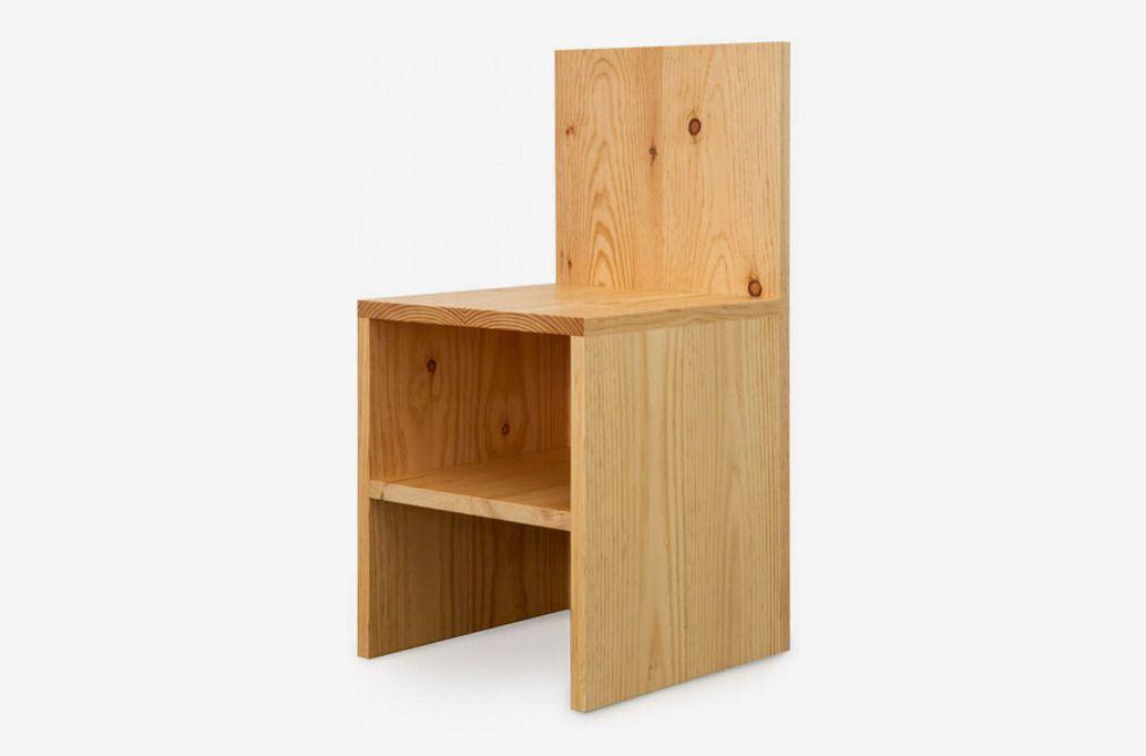 Angular wooden chair.