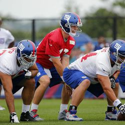 Eli Manning takes a snap with David Baas at center and James Brewer at right guard. [Jim O'Connor-USA TODAY Sports]