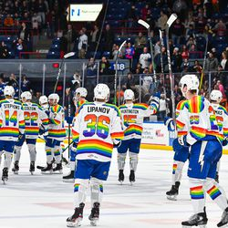 Syracuse Crunch players salute the fans after defeating the Lehigh Valley Phantoms in am American Hockey League (AHL) game on Pride Night at the Upstate Medical University Arena in Syracuse, New York on Saturday, February 22, 2020. Syracuse won 2-1.