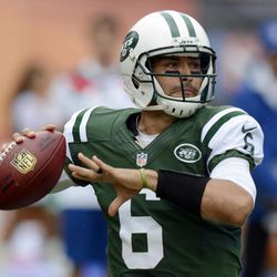 New York Jets quarterback Mark Sanchez (6) looks to pass during the first half of an NFL football game against the Miami Dolphins, Sunday, Sept. 23, 2012, in Miami.